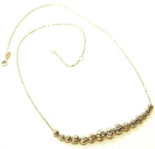 18K YELLOW GOLD NECKLACE, ALTERNATE FACETED CENTRAL WORKED BALLS SPHERES image 1