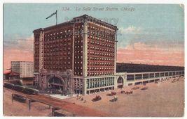 CHICAGO IL - LASALLE STREET RAILWAY STATION 1910s postcard - STREET VIEW... - $3.22