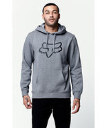 MEN'S GUYS FOX RACING LEGACY HEAD FLEECE HOODIE GRAY LOGO NEW $65 - $49.99