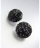 EXQUISITE Black Pave CZ Crystals Button Stud Earrings Prom Pageant Bridal - £15.28 GBP
