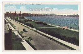 BOSTON MA  ESPLANADE ALONG CHARLES RIVER~CITY VIEW~c1920s-30s vintage po... - $9.14
