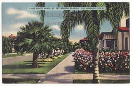 St Petersburg Florida   First Street North   C1939 Linen Postcard   Street View - $4.55