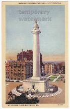BALTIMORE MD MT VERON PLACE~WASHINGTON MONUMENT-LAFAYETTE STATUE~c1940s ... - $2.71