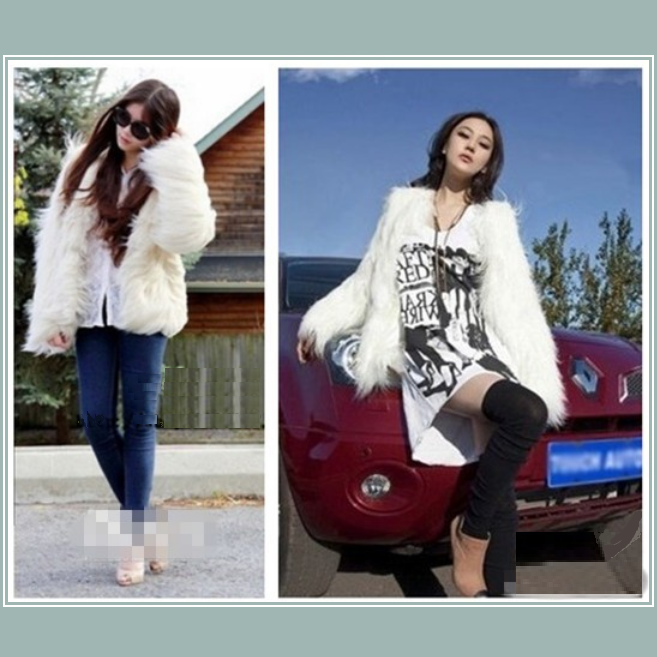 Long Shaggy Hair White Angora Sheep Faux Fur Medium Length Coat Jacket
