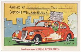 CAR ARRIVES WITHOUT TIRES 1950s vintage COMIC postcard~GREETINGS MIDDLE ... - $4.55