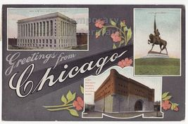 EARLY GREETINGS FROM CHICAGO POSTCARD~CITY HALL-LOGAN MONUMENT-ARMORY~1910s - $6.39