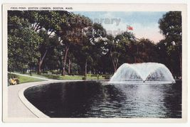 Boston MA Mass., Frog Pond & Fountain, Boston Common Park c1920s-30s postcard - $4.55