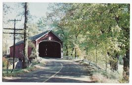 1800s Covered Wooden Toll  Bridge Of Midwest~ Kissing Bridge~C1960s Old Postcard - $2.76