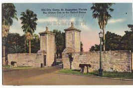 St Augustine FL - Old City Gates - ca 1940s vintage linen postcard - HIS... - $2.71