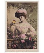 BEAUTIFUL FASHIONABLE WOMAN SPEAKS WITH FLOWERS... - $5.47