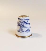 Long Eliza Spode Thimble Vintage Fine Bone China England Blue White Gold... - $20.00