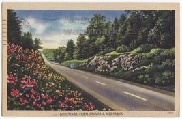 GREETINGS from STANTON NE ~NEBRASKA SCENIC COUNTRY ROAD~ 1940s vintage p... - $8.23