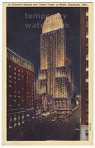 FOUNTAIN SQUARE-CAREW TOWER NIGHT VIEW ca 1946 CINCINNATI OHIO vintage p... - $4.14