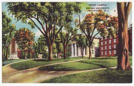 Providence Rhode Island RI, BROWN UNIVERSITY Front Campus view c1940s postcard - $3.22