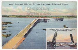 Arrowhead Bridge between Duluth MN and Superior c1940s old Minnesota postcard - $3.63