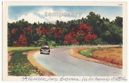 Old Car On Beautiful Scenic Road   Autumn Color Trees  1960 Vintage Postcard - $2.67