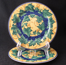 Victoria Beale Yves Salad Plate 9034 Yellow Blue Verge Green Ivy Set of Two - $17.99