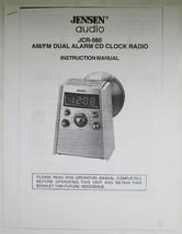 Jensen Audio Model JCR-560 AM/FM Dual Alarm CD Clock Radio Manual - $8.90