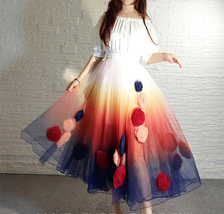 Women Flower Embroidery Long Tulle Skirt Outfit Custom Plus Size Princess Outfit image 10