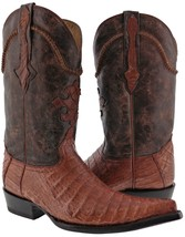 Mens Cognac Brown Smooth Real Crocodile Belly Skin Leather Cowboy Boots ... - $284.99