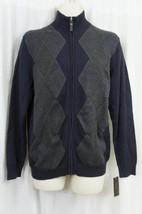 Tasso Elba Mens Sweater Sz L Dark Navy Blue Combo Front Zip Cotton Sweater - ₨2,611.74 INR