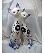 Pair Vntg Tall 19 & 17 White Ceramic Cats Statue Sculpture Figurine Blue... - $143.55