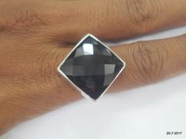 sterling silver ring black onyx gemstone ring cocktail ring handmade - $79.20