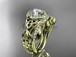 Celtic Wedding Ring Sets Yellow Diamond Celtic Trinity Knot Bridal Set CT730 - $2,275.00