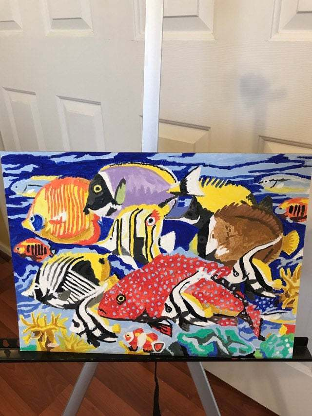 Handcrafted acrylic tropical fish painting