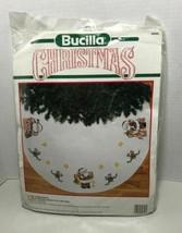 "1990 New Bucilla Christmas A Visit From Santa 45"" Round Cross Stitch Tree Skirt - $46.59"