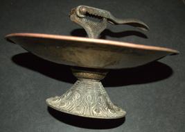 Vintage Israel Copper Nut Cracker Mounted Bowl Signed Tamar 1960's image 5