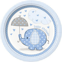 "Umbrella Elephant Blue Boy Baby Shower Dinner Lunch 9"" Plates - £2.16 GBP"