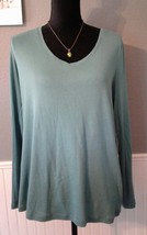 Talbots Pima Cotton Long -Sleeve V-Neck Tee Woman Women Size X Green - $11.95