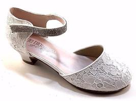 De Blossom Girl K-Suri-16 White Lace Round Toe Low Heel Dressy Shoes - $34.00