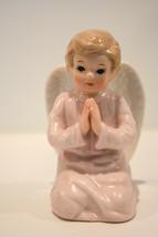 Lefton China  Kneeling Angel  Pink Praying Angel SRNO 1584 Classic Figure - $13.85