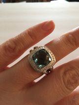 Pre Owned David Yurman 925 Sterling Silver 11mm Prasiolite& Diamond Ring... - $425.00