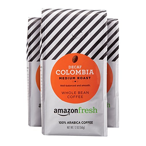 AmazonFresh Decaf Colombia Whole Bean Coffee, Medium Roast, 12 Ounce Pack of 3
