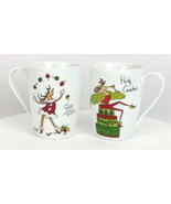 Christmas Holiday Mugs Reindeer Party Coffee Cups White Red Novelty Set ... - $16.79