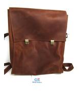 Brown Leather Laptop Tablet Book Bag Messenger Bag Organizer w/ Adjustab... - $39.55