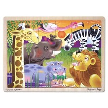 'African Plains' 24-Piece Wooden Jigsaw Puzzle + FREE Melissa & Doug Scratch Art - $14.11