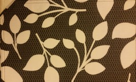 "SET OF 4 LINEN FABRIC PLACEMATS 12"" x 18"", WHITE LEAVES ON BLACK by BH - $15.83"