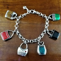 New Retired BRIGHTON Silver Enamel Purse Handbag Charm Bracelet - $44.95