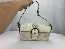 "COACH Tan Off White Logo Canvas Purse Shoulder Handbag Small 10.5"" x 6.5"" - $48.38"
