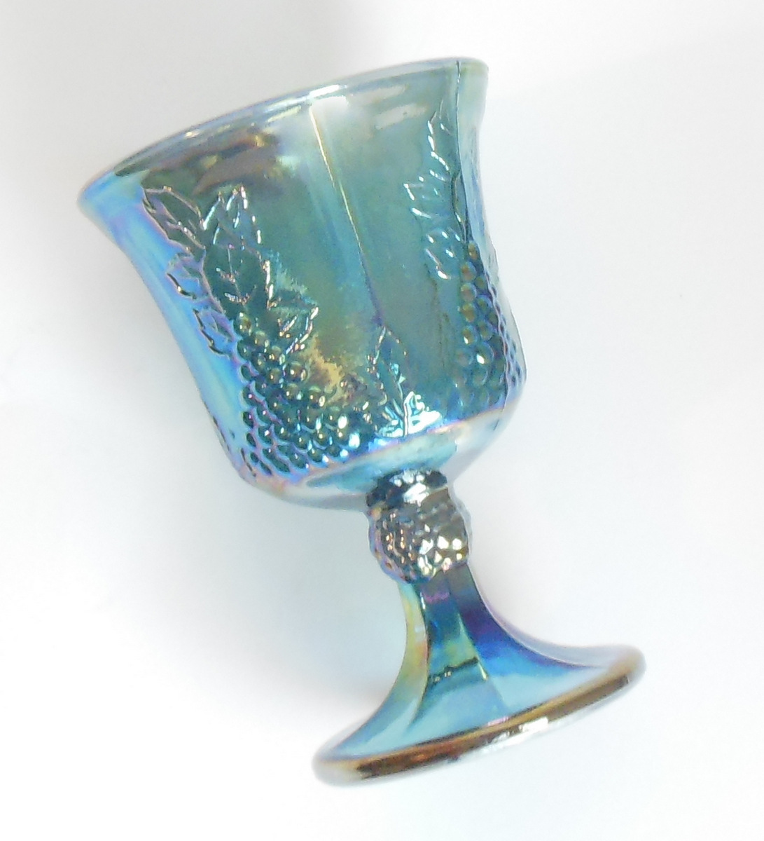 Indiana Harvest Blue Carnival Glass Goblet Iridescent Grapes Leaves Vintage