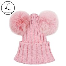 GZHILOVINGL Real Fox Fur Pompom Hat Kids Winter Caps Knitted Hats Two Po... - $15.90