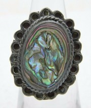 VTG Mexico Artist Signed .925 Sterling Silver Abalone Ring Size 4.5 Adjustable - $29.70