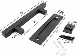 PENSON & CO. 12 Inch Square Pull and Flush Door Handle Set in Black, Sliding Bar image 3