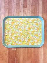 Vintage 70s CATER melamine cafeteria/serving tray with vinyl floral inlay
