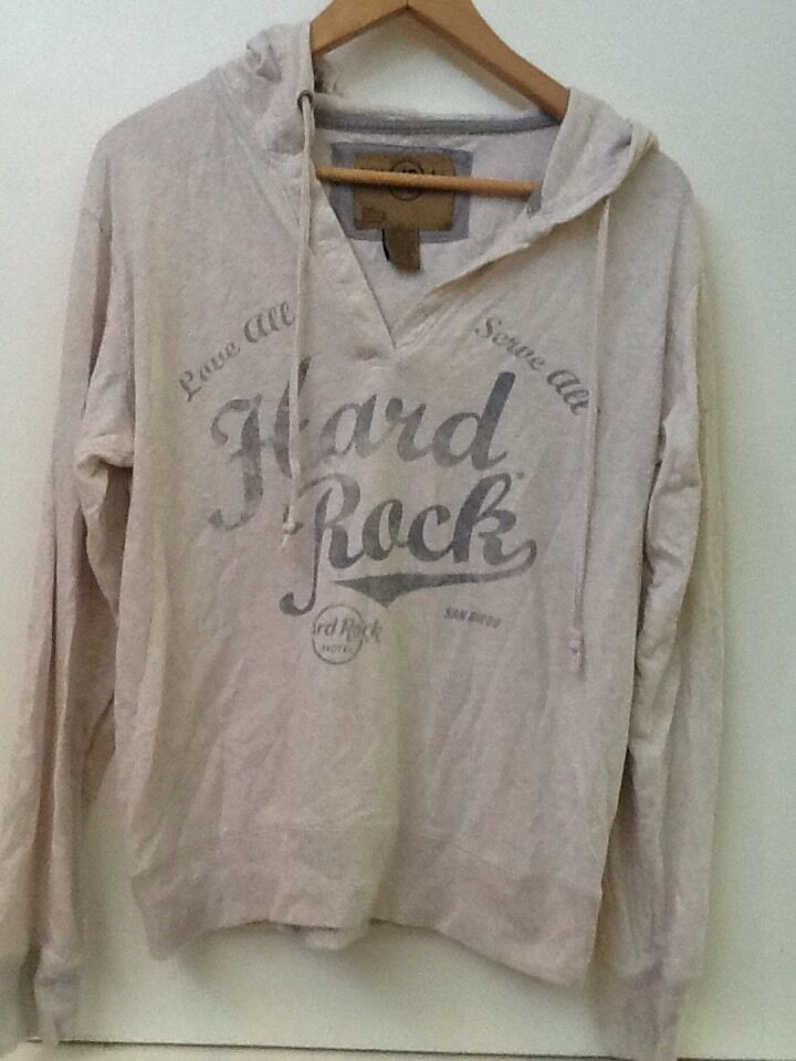 HARD ROCK HOTEL SAN DIEGO Beige HOODIE COTTON Pullover Juniors Fit WOMENS L