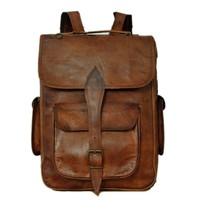 Real genuine leather Brown Vintage Men's Backpack Bag laptop Satchel bag - $57.96+